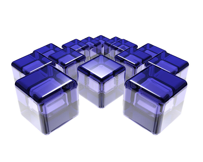 Abstract composition of blue glass cubes stock illustration