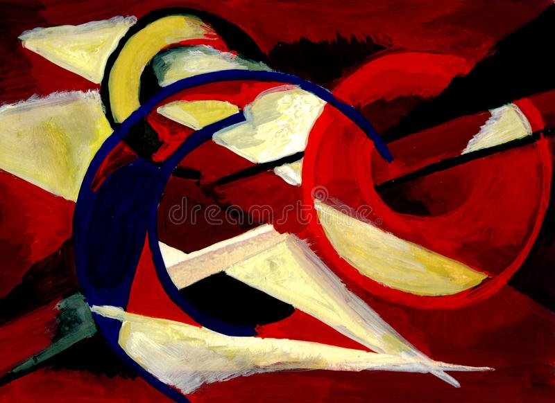 Abstract composition in cherry color stock illustration