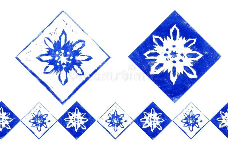 Abstract composition with endless border of  blue snowflakes in frame isolated on white background. Hand made linoprint. royalty free illustration