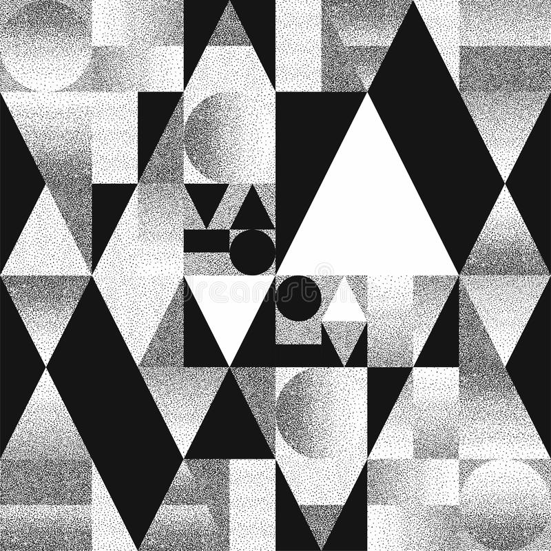 Abstract composition of geometric shapes with chaotic scatter dots gradients. Black and white pattern, background vector illustration
