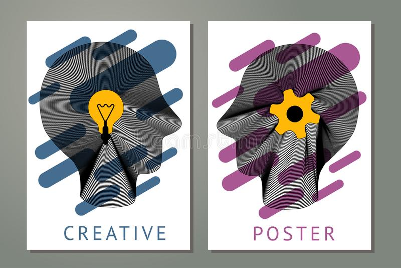 Abstract composition with human heads, gears and lamp. Creativity concept with guilloche lines. Posters with striped vector illustration
