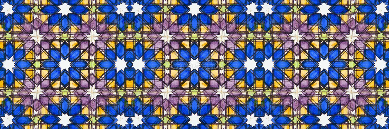 Abstract composition inspired by a typical portuguese decorations with ceramic tiles called azulejos - Perfect seamless texture. That can be repeated modularly stock photo