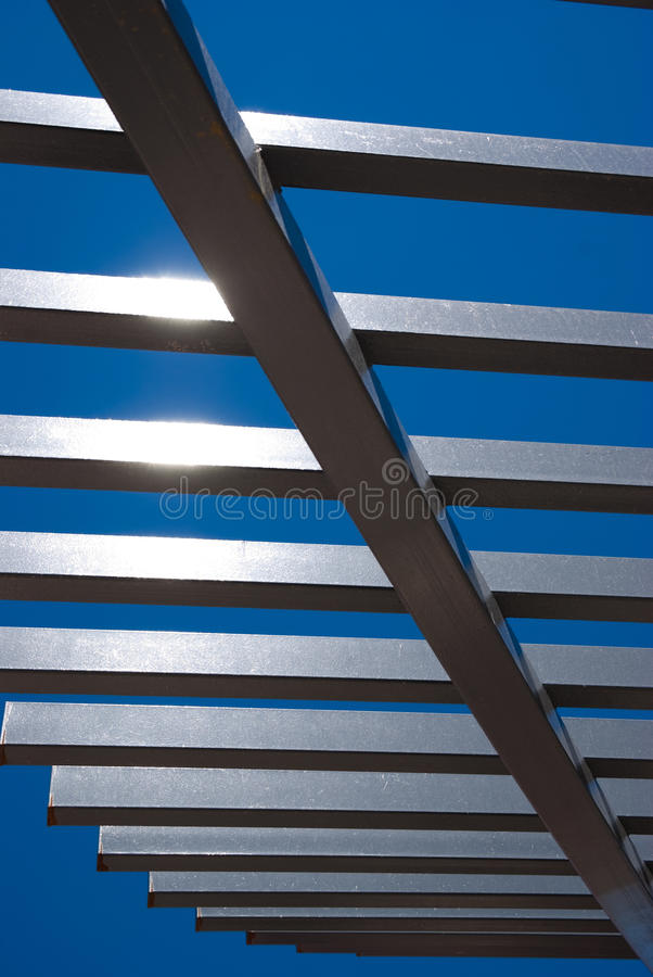 Abstract Composition Modern Architecture. Abstract shapes from a modern architecture building against blue sky stock photo