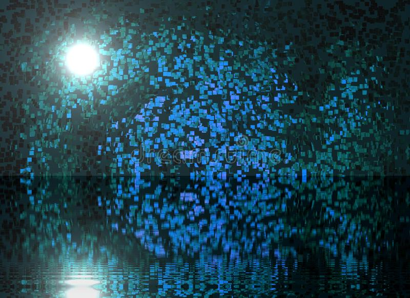 Abstract composition night pond shining moon reflection in water blue color shine trees misty. Abstract composition night pond shining moon reflection in water stock image
