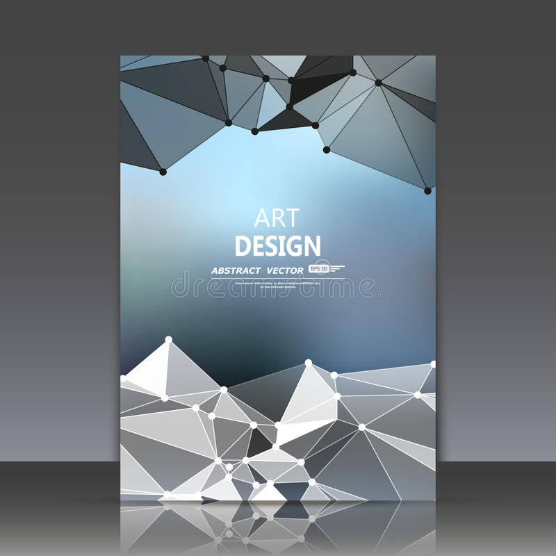 Abstract composition, polygonal construction, connecting dots and lines, a4 brochure title sheet, space background, light rays. Surface, movement backdrop, EPS vector illustration