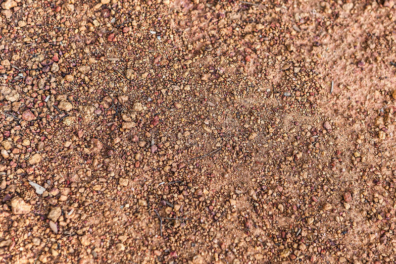 Abstract composition of red gravel with twigs stock photo
