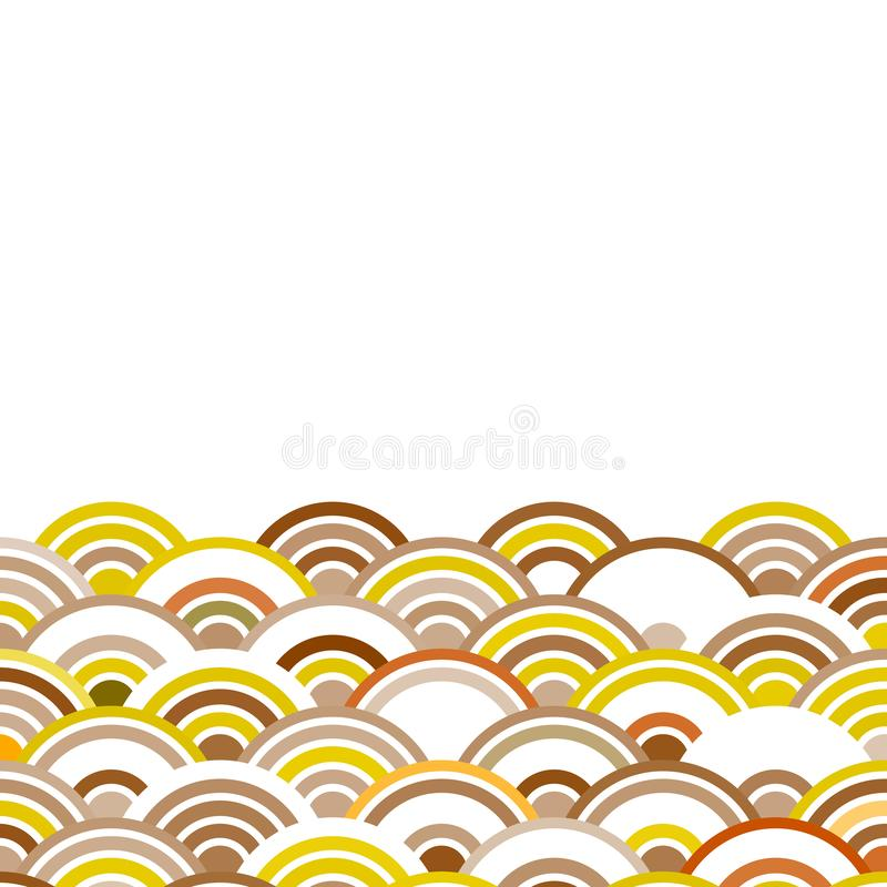 Abstract composition of round elements. scales simple Nature Asian wave circle pattern Brown beige ocher on a white background car royalty free illustration