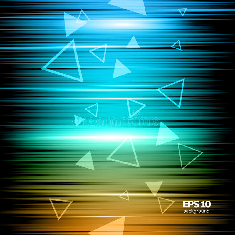 Abstract composition, shiny geometric shape flare, visual colored lines light, flying triangle radiance icon, effulgence. Logo construction, glory screen saver stock illustration