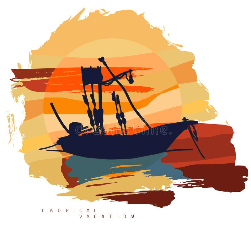 Abstract composition with the silhouette of a fishing boat against the background of a large sun with clouds. Vector image in bright yellow and orange color vector illustration