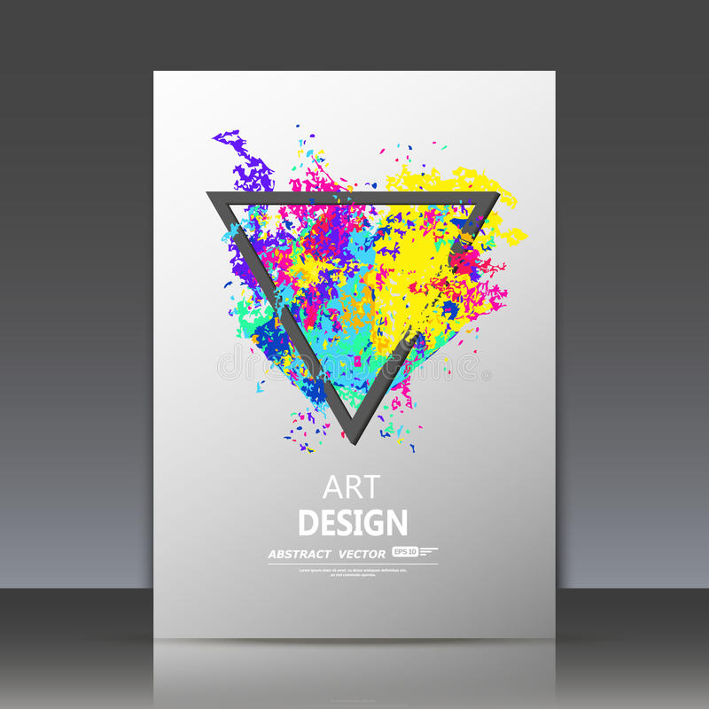 Abstract composition, spotted blot structure, smeary oil paint blur, sloppy surface backdrop, soiled brochure title sheet, splotch. Y rainbow color triangle icon vector illustration