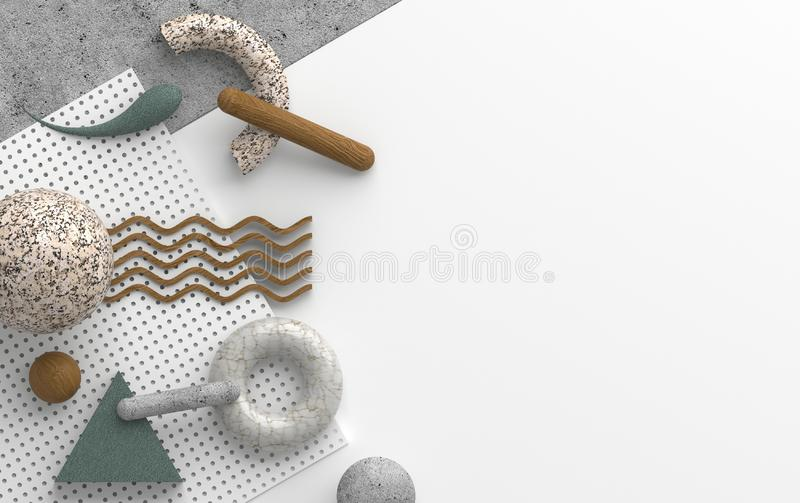 Abstract composition with stone and concrete texture of primitive geometric shapes is isolated on white background. Copy space for vector illustration