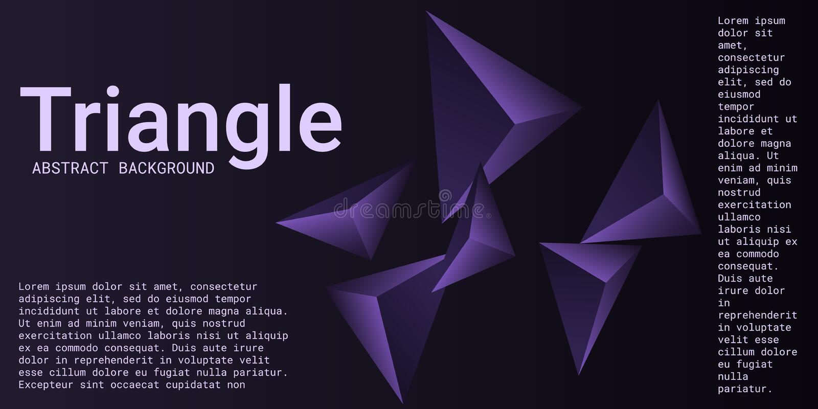Abstract composition of  triangle. Futuristic geometric background.  3D vector illustration . Violet  three-dimensional  geometric triangle in space vector illustration
