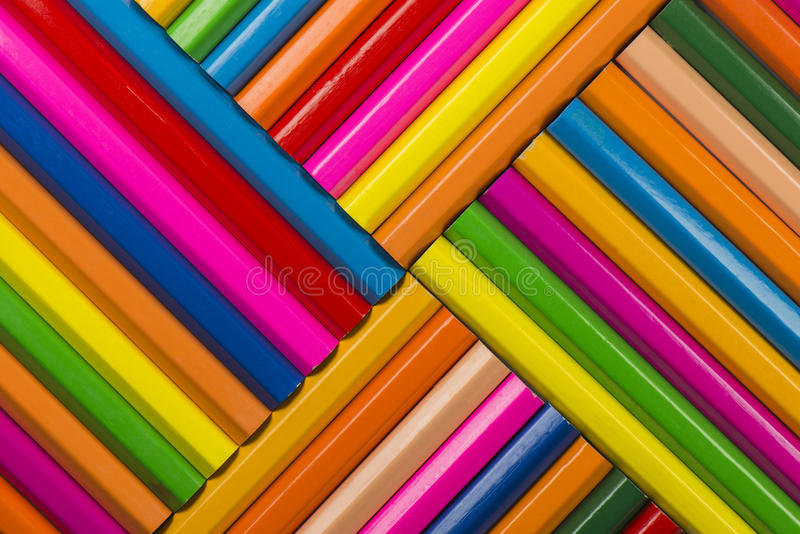 Abstract composition of wooden colour pencils stock image