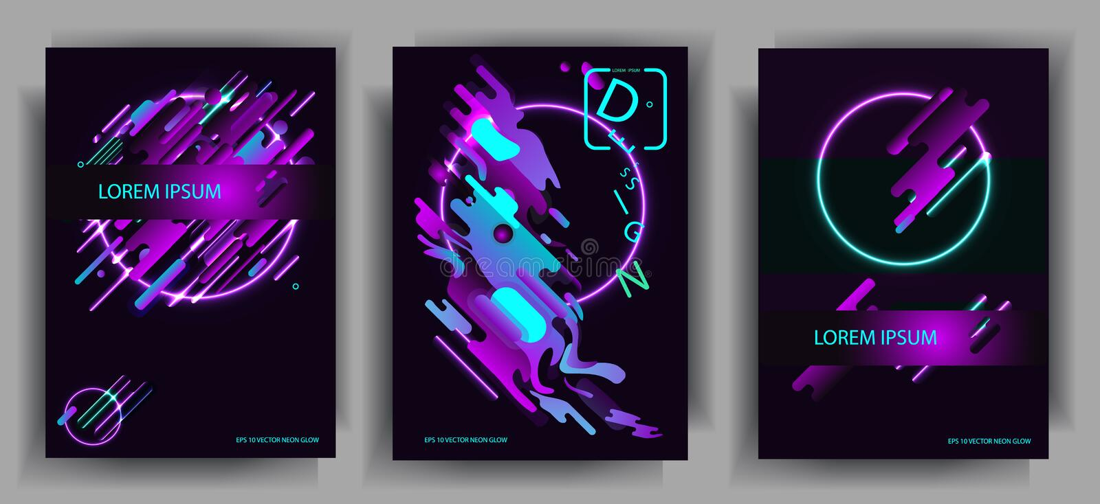 Abstract compositions from the rounded bands, futuristic and modern and neon colors. Vector templates for posters, banners, flyers. And presentations. Vector royalty free illustration