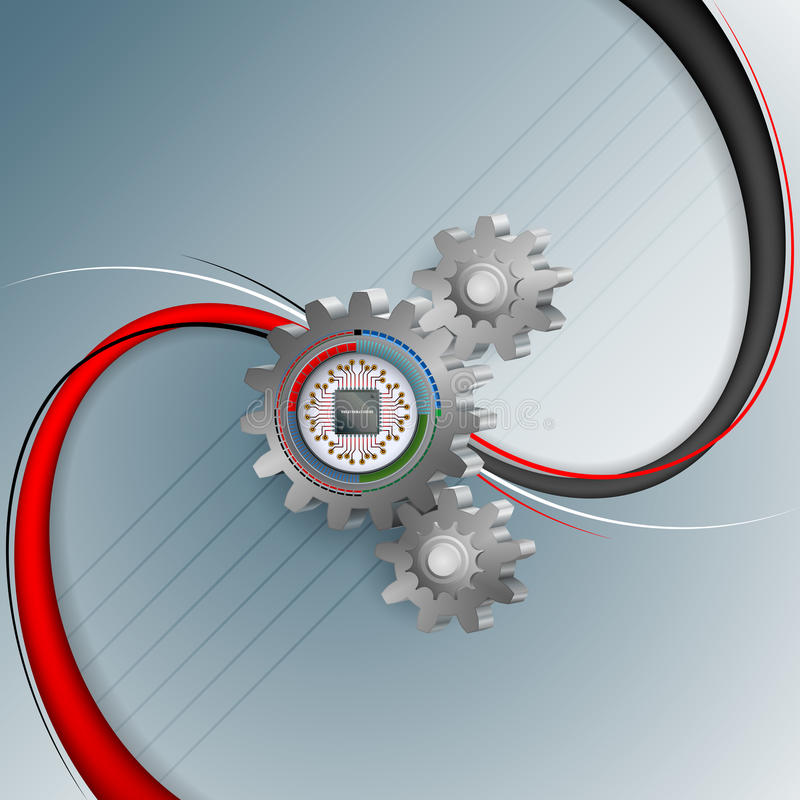 Abstract computer graphic for industry/technology. With computer chip processor attached to a toothed wheel on a 3D shapes stock illustration