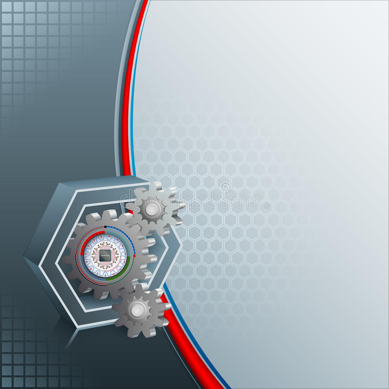 Abstract computer graphic for industry/technology. With computer processor inside graded, circular device attached to a toothed wheel inside a three dimensions vector illustration