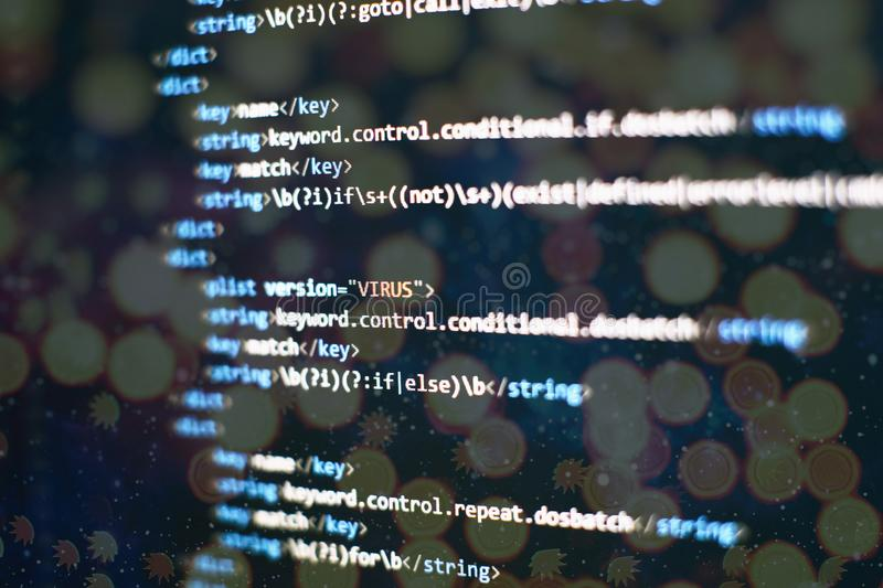 Abstract computer script code. Programming code screen of software developer. Software Programming Work Time. Code text written. Coding application by programmer royalty free stock images