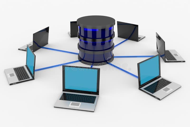 Abstract computernetwerk en gegevensbestand. Concept. vector illustratie