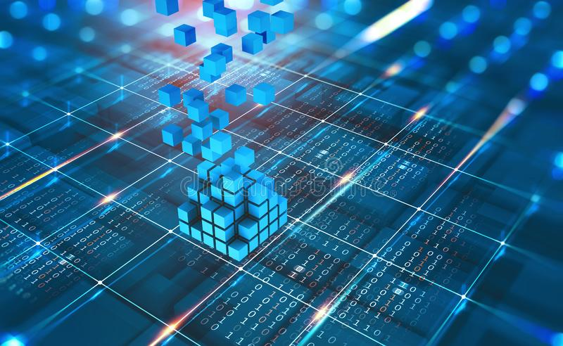 Abstract concept Blockchain network. Fintech technology. Global protection and data transmission royalty free stock photo