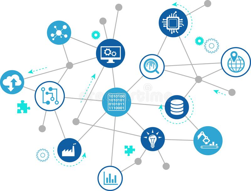 Digitalization concept: enterprise IoT, smart factory, industry 4.0 - vector illustration. Abstract concept in blue/grey color with interconnected icons showing vector illustration