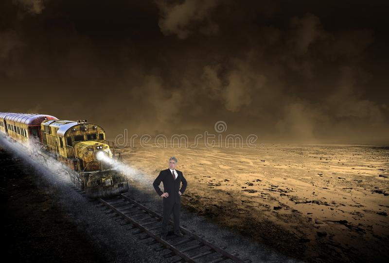 Business Risk Management, Businessman, Train. Abstract concept for business risk management. A businessman stands on a surreal railroad tracks with an oncoming royalty free stock photo