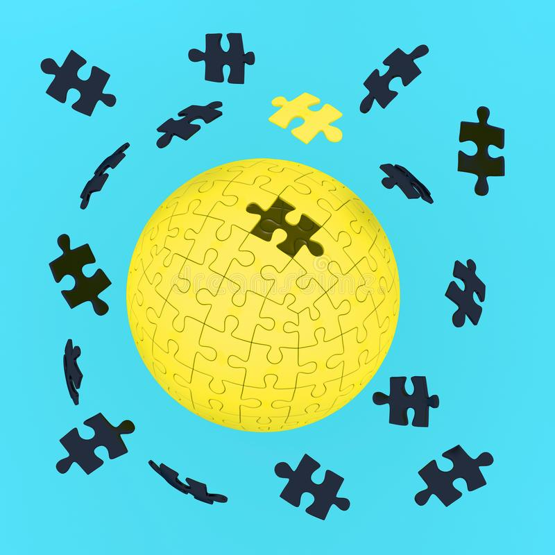 Abstract concept of business, Yellow earth jigsaw puzzle on past. El blue background. Global strategy solution concept stock images