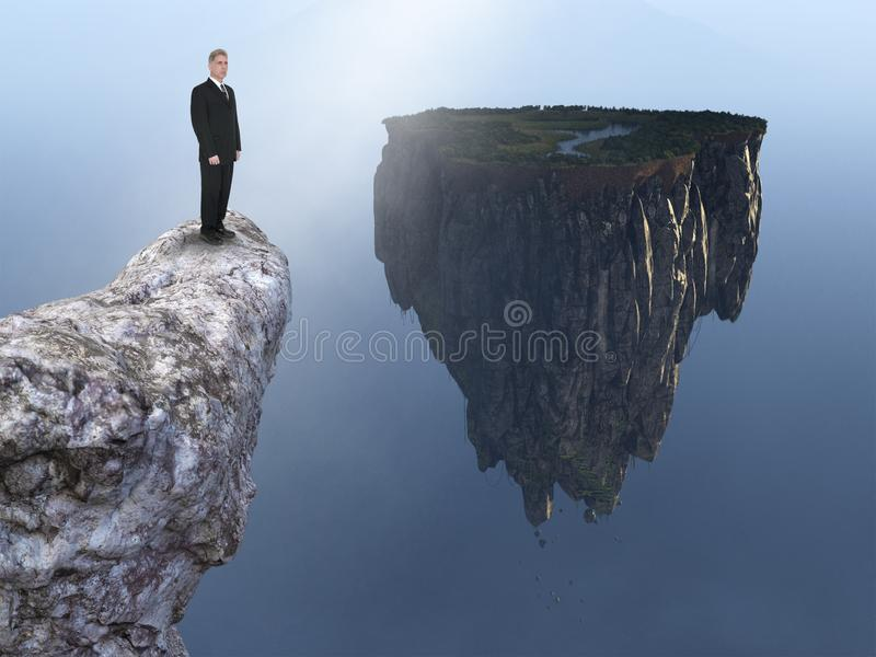 Business, Sales, Marketing, Goals, Success. Abstract concept with a businessman standing on a cliff with a floating island. Metaphor for business, sales royalty free stock images