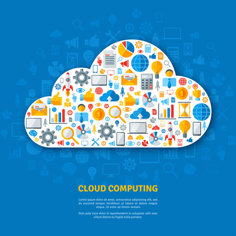 Abstract concept of cloud computing. Vector illustration. White cloud with flat business icons. Mobile devices. Online Services stock illustration