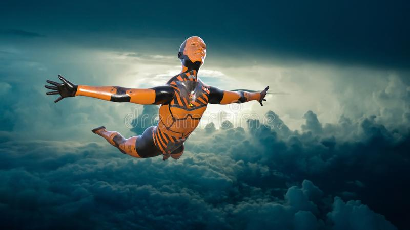Flying Crash Test Dummy, Clouds royalty free stock image
