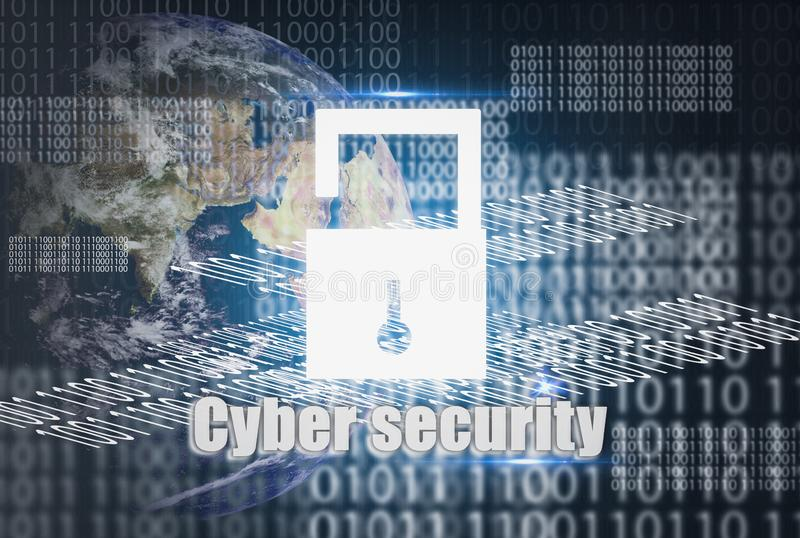 Abstract concept cyber security, and security icon, for online data protect from internet and personal safety networks in database royalty free stock photo