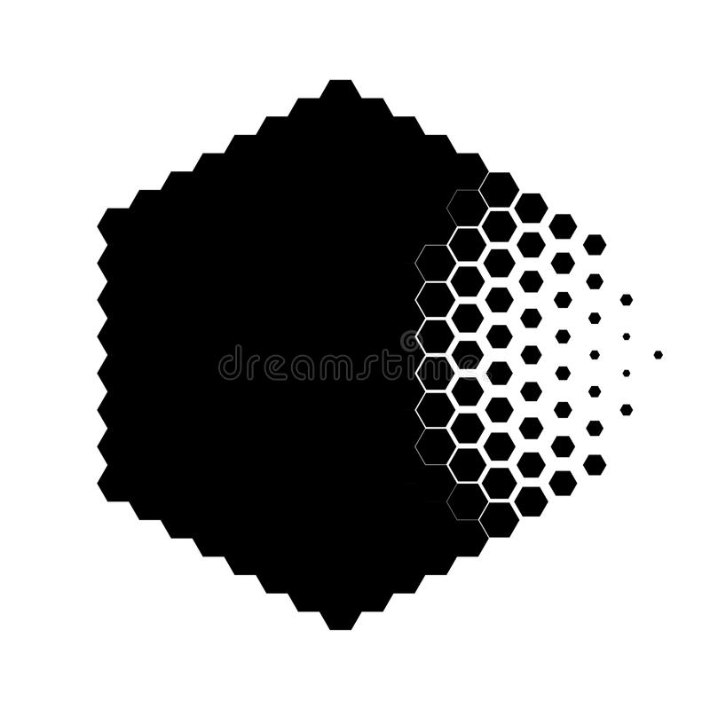 Abstract concept of destroying particle. Dissolution. Black and white scheme of erosion. Vector illustration. Hexagonal nanoparticle. Monochrome scientific vector illustration