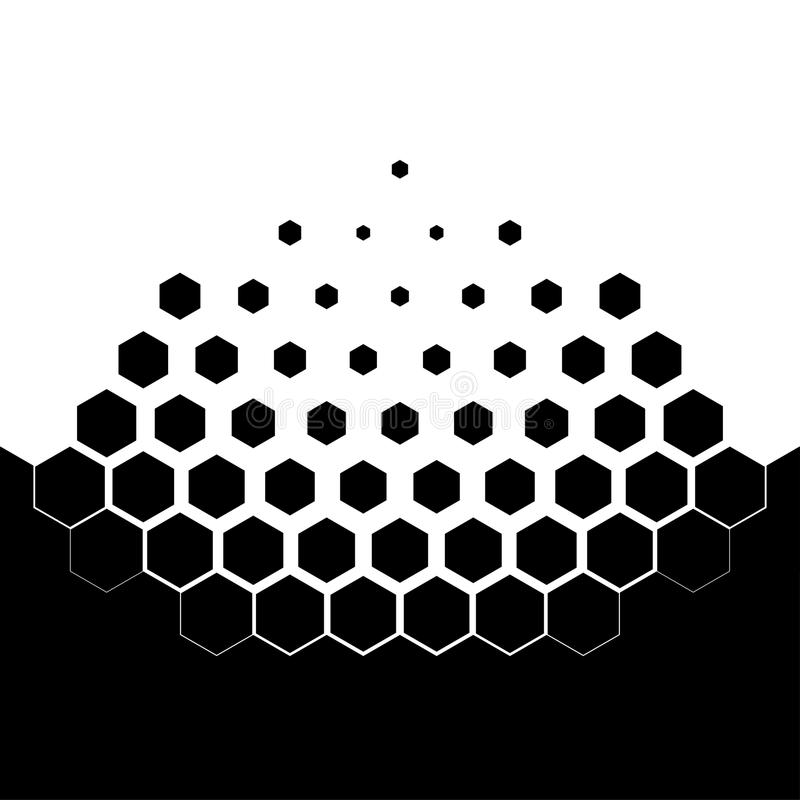 Abstract concept of dissolution. Black and white scheme of erosion. Vector illustration. Hexagonal particles. Monochrome scientific background royalty free illustration