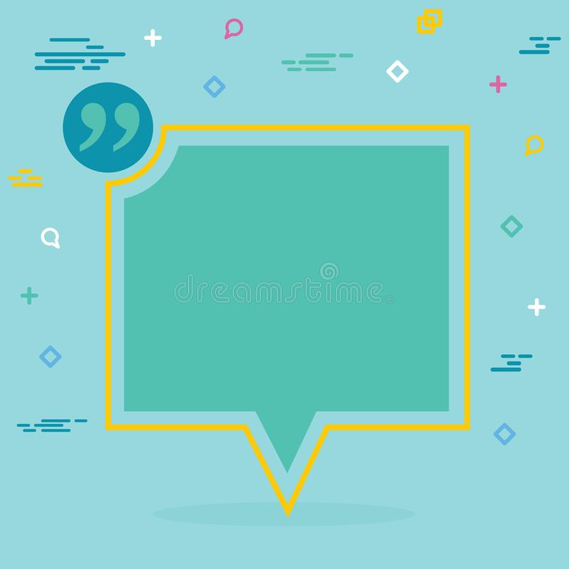 Abstract concept empty speech square quote text bubble. For web and mobile app isolated on background, illustration royalty free stock photos