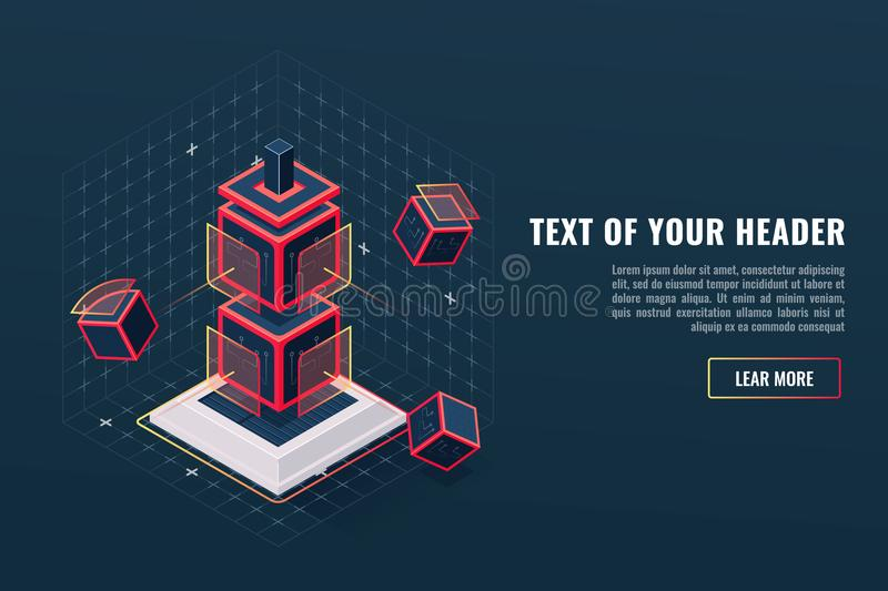 Abstract concept of game element icon totem, checkpoint, digital data visualization, program hardware complex royalty free illustration