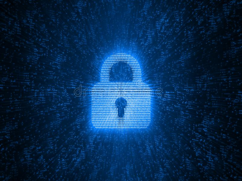 Abstract concept globale Internet-veiligheid Het digitale die stootkussenslot door binaire aantallen op netwerkgloed wordt gecree vector illustratie