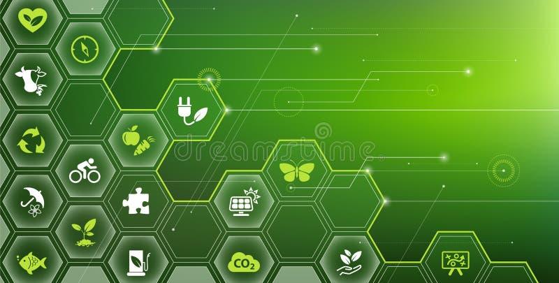 Sustainability icon concept: environment, green energy, sustainable development – vector illustration stock illustration