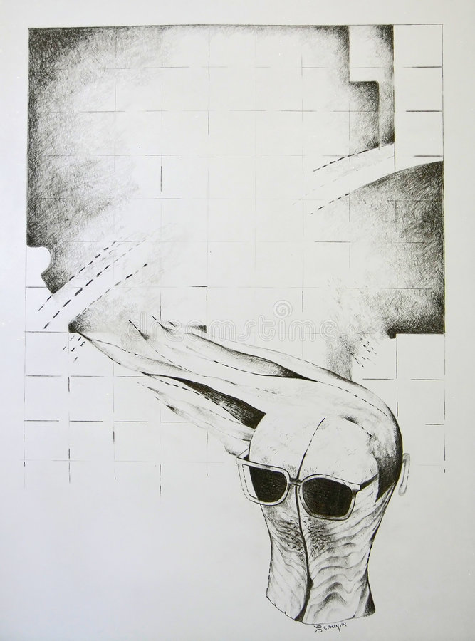 Abstract concept - houten hoofdvorm met glazen stock illustratie