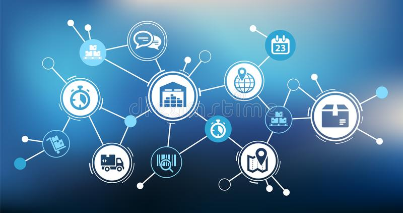 Aspects of interconnected & smart company logistics processes - concept. Abstract concept with interconnected icons showing various challenges, tools and aspects royalty free illustration
