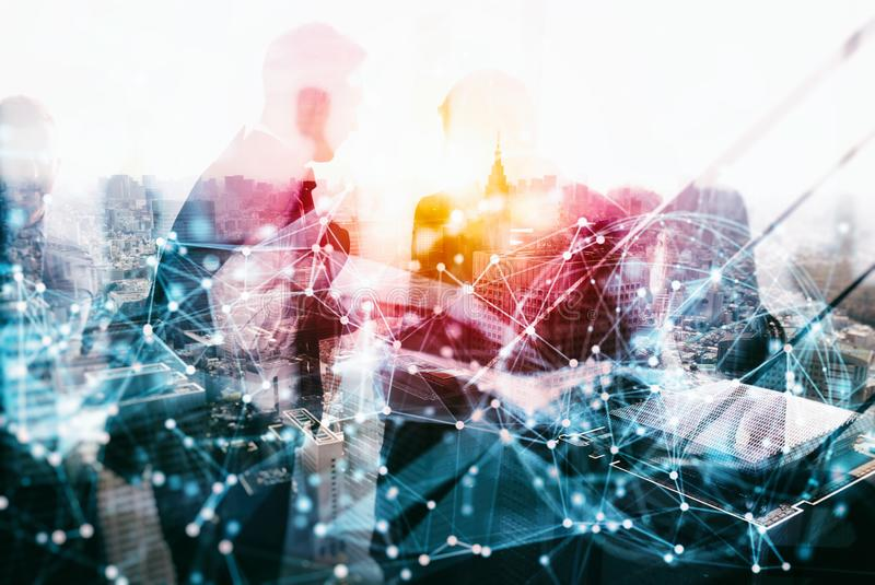 Network background concept with business people silhouette. Double exposure and network effects. Abstract concept of network infrastructure. Double exposure stock image