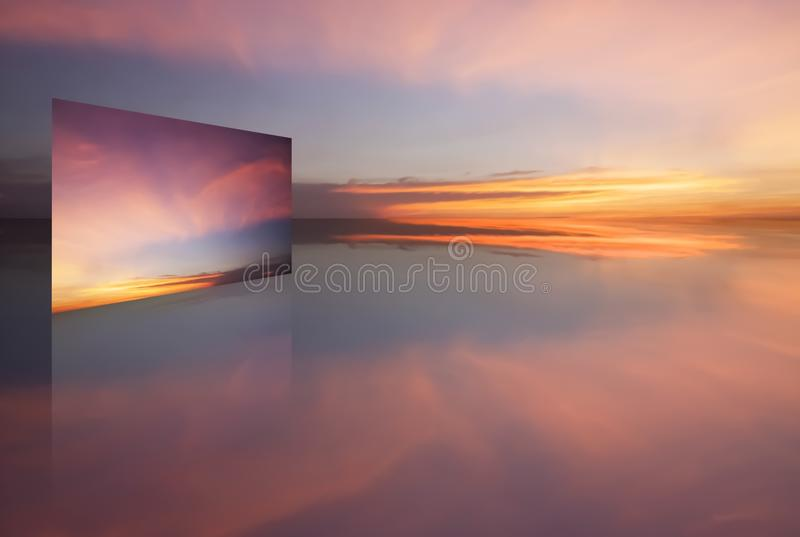 Abstract Concept Panorama view of dramatic sky and clouds at twilight time. royalty free stock images