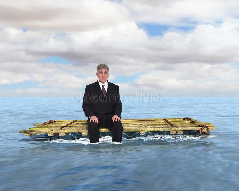 Business, Sales, Marketing, Jobs, Caeer. Abstract concept for surreal business, sales, marketing, jobs, and career. A businessman is cast adrift on a raft in the royalty free stock photo