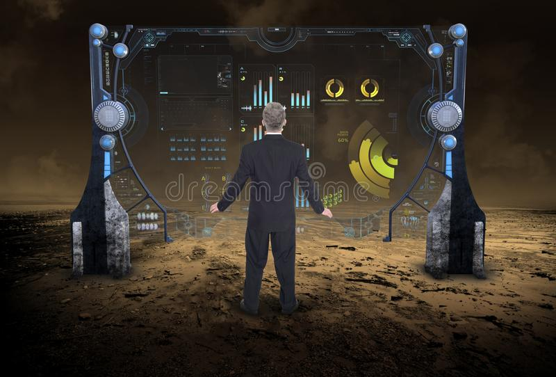 Information Technology, Data, Business, Science Fiction. Abstract concept for technology, data, business, science, and computers. A businessman is looking at a royalty free stock images