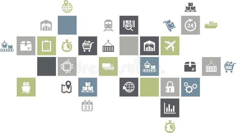 Supply chain management concept - colorful illustration with icons royalty free illustration