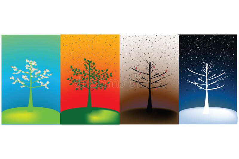 Abstract concept of year's seasons. Abstract concept of four seasons royalty free illustration