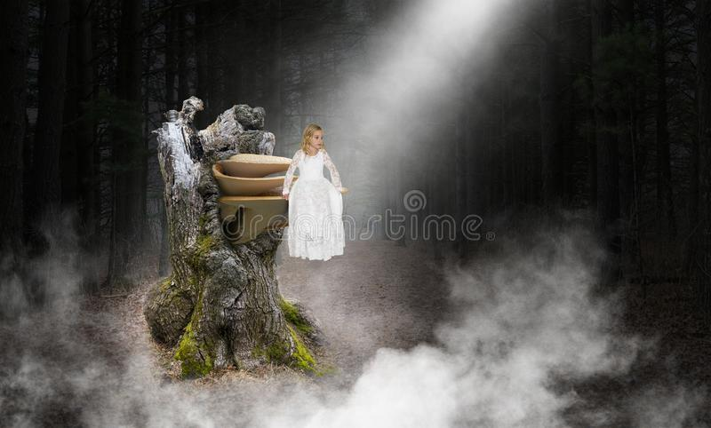 Young Girl, Angel, Hople, Love, Peace. Abstract concept of a young girl angel sitting on a mushroom or toadstool fungi. Background is the deep, dark woods royalty free stock image