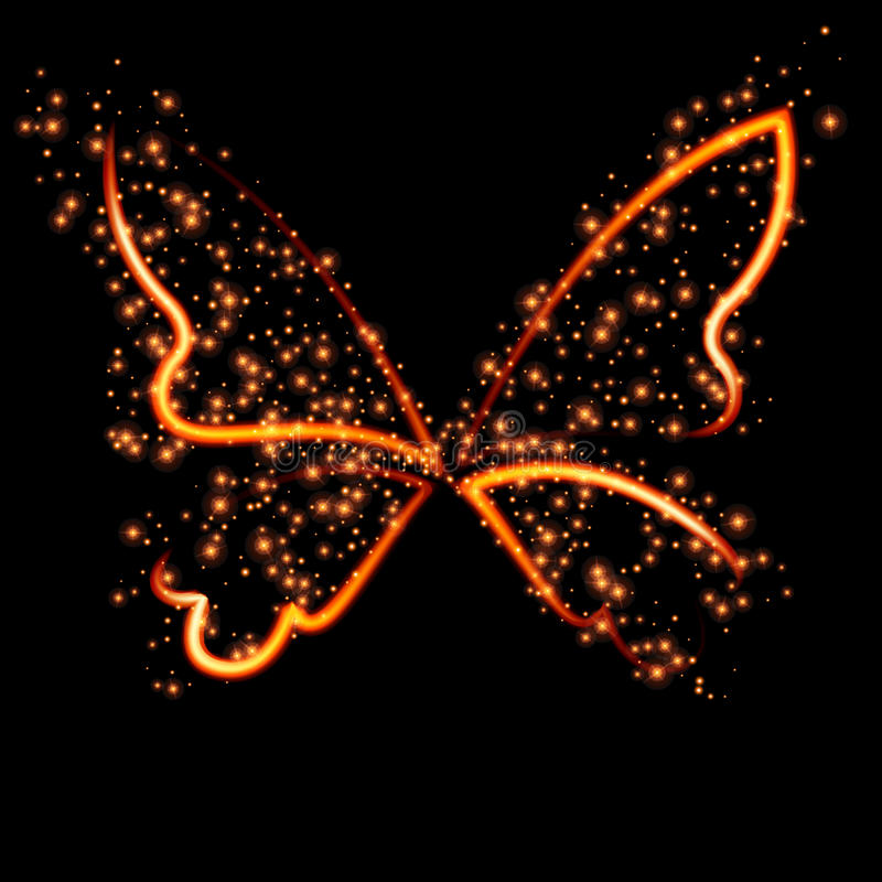 Abstract conceptual design - a fiery butterfly shape. Vector illustration vector illustration