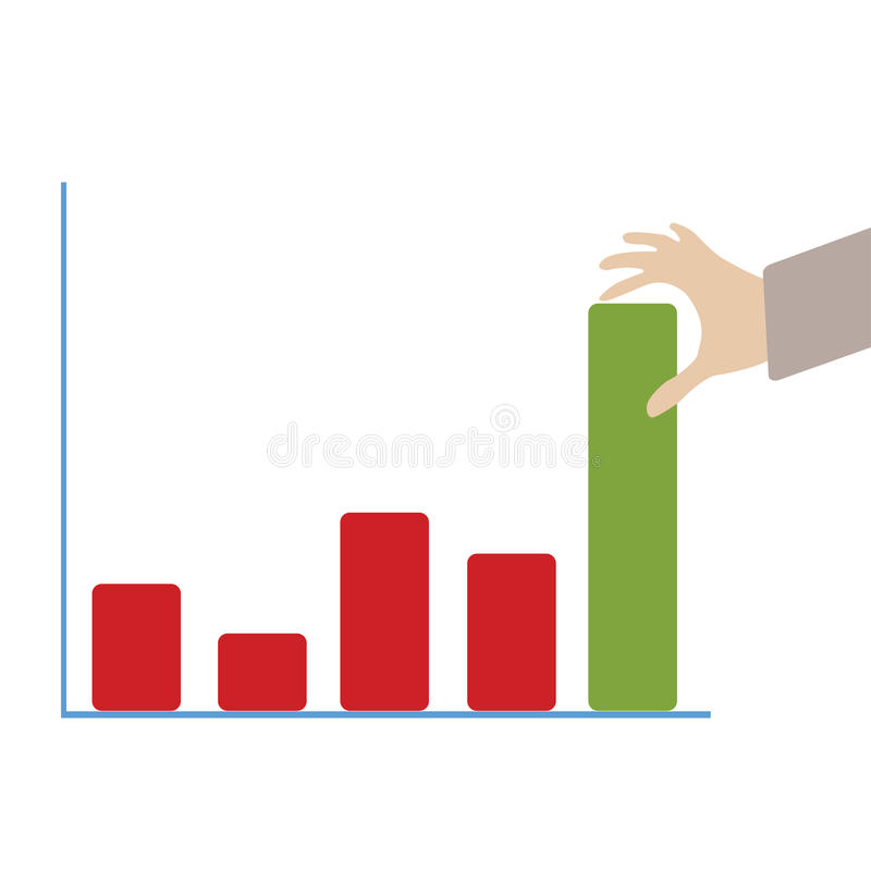 Abstract conceptual image of business hand push the business chart green color bar as background vector illustration