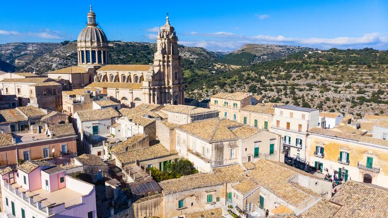 Abstract and conceptual of Ragusa Ibla in Sicily stock photography