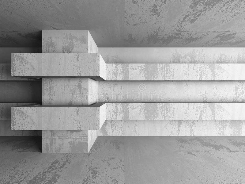 Abstract concrete architecture basement room geometric background. 3d render illustration royalty free stock image