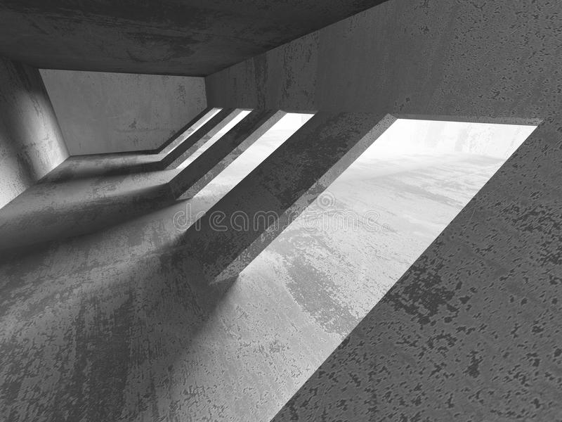 Abstract concrete architecture basement room geometric background stock photo